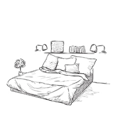 Interior design of the classic bedroom vector