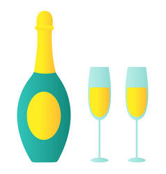 isolated of bottle of champagne vector image