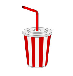 isolated paper cup soft drink icon vector image