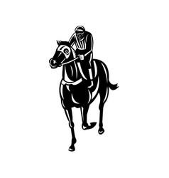 Jockey racing thoroughbred horse or galloper vector