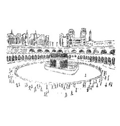 Kaaba in mecca saudi arabia simple manual hand vector