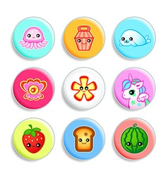 Kawaii badges II vector image
