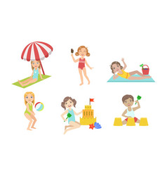 kids playing on beach set children having fun vector image