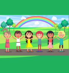 Kids with raised hands celebrate 1 june in park vector