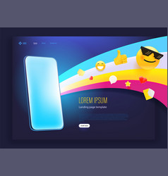 Landing page with modern smartphone and web emoji vector