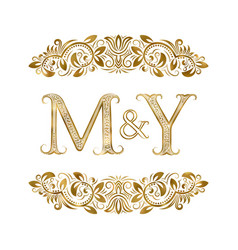 M and y vintage initials logo symbol letters vector