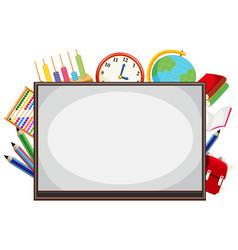 Math whiteboard border background vector
