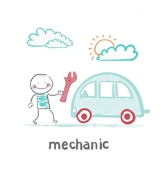 Mechanic holds the key and stands near the car vector