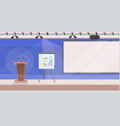 Modern conference room with flip chart tribune and vector