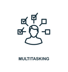 Multitasking icon outline style thin line vector