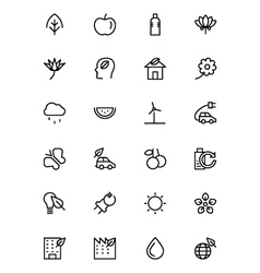 Nature and Ecology Line Icons 1 vector image