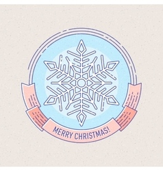 New Year and Christmas badge with snowflake vector image vector image