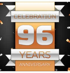 Ninety six years anniversary celebration golden vector
