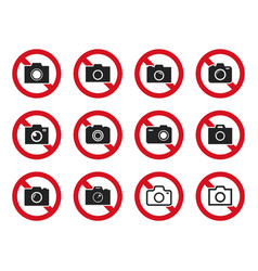 no photo icon set no camera sign vector image