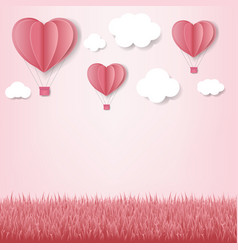 paper hearts with cloud pink background vector image