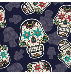 Pattern with sugar skulls vector