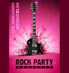 pink rock festival concert party poster vector image