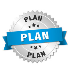 Plan 3d silver badge with blue ribbon vector