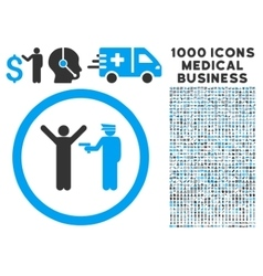 Police Arrest Rounded Icon With Medical Bonus vector image