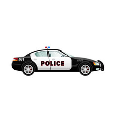 Police car in simple cartoon design speed vehicle vector