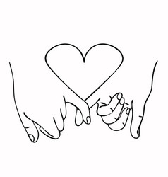 promise outline with heart concept vector image