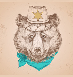 Retro hipster animal bear hand drawing muzzle vector