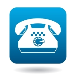Retro phone with a taxi sign icon flat style vector image