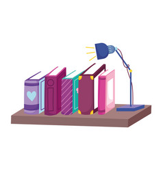 row books light lamp in shelf book day vector image