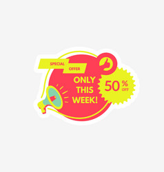 sale and special offer 50 off megaphone vector image
