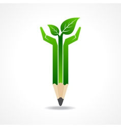 Save nature concept with pencil hands vector image