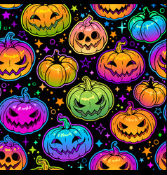 seamless pattern bright multicolored halloween vector image