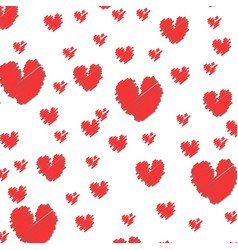 set grunge hearts design elements retro vector image