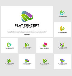 set of green play logo design concept nature play vector image