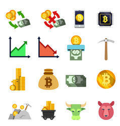 set of twelve cripto currency flat icons vector image