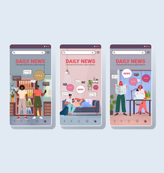 set people reading and discussing daily news chat vector image
