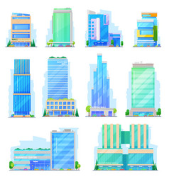 Shoping mall store and mart building icons vector