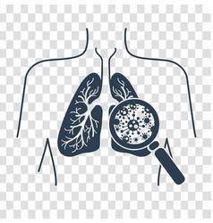 Silhouetteof lung disease black vector