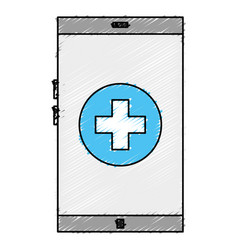 Smartphone device with medical app vector