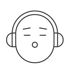 smile with headphones linear icon vector image