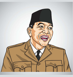 Soekarno the first president of republic indonesia vector