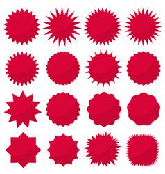 starburst seals set bursting rays clip art red vector image