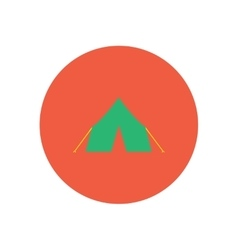 Stylish icon in circle camp tourist tent vector