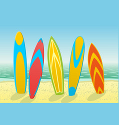 Surfboards on a beach vector