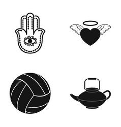 Symbol heart and other web icon in black style vector