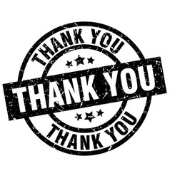 thank you round grunge black stamp vector image