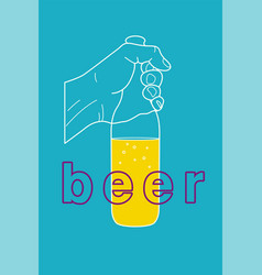 The hand holds a bottle beer vector
