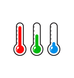 Thermometers icon with different levels flat vector