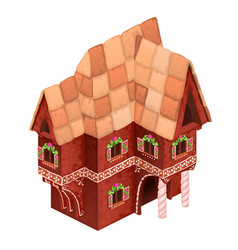 toy two-storey house red color gingerbread vector image