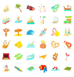 Travel time icons set cartoon style vector