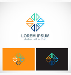 triangle colored circle geometry logo vector image